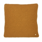 Square Quilt Cushion Throw Pillow in Curry