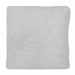 Square Quilt Cushion Throw Pillow in Light Grey