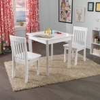 Square Table & 2 Avalon Chairs Set in White