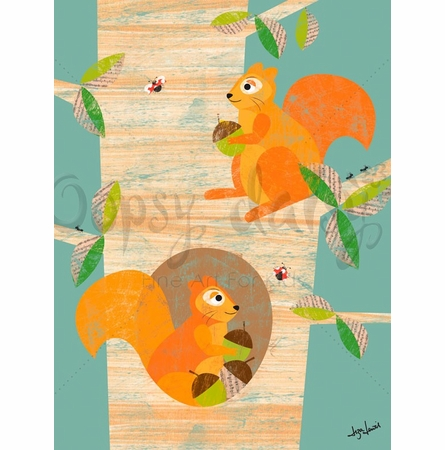 Squirrels in the Woods Canvas Wall Art