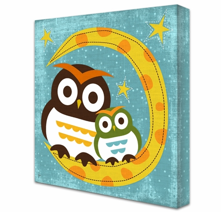 Star Gaze Owls Canvas Reproduction