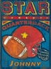 Star Quarterback Vintage Wood Sign