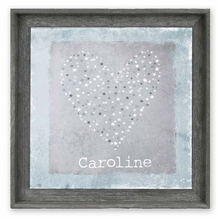 Star Sprinkled Heart Blue Personalized Framed Canvas Art