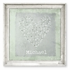 Star Sprinkled Heart Green Personalized Framed Canvas Art