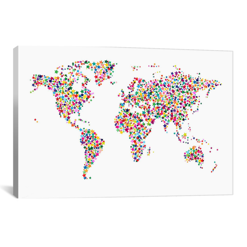Stars World Map II Canvas Wall Art
