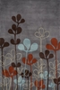 Steel Gray Growing Leaves Rug