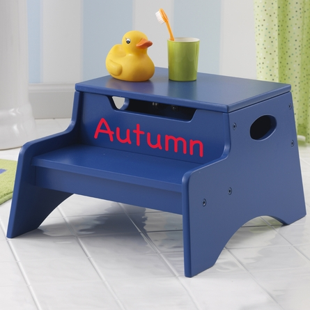 Step Stool With Storage in Blue