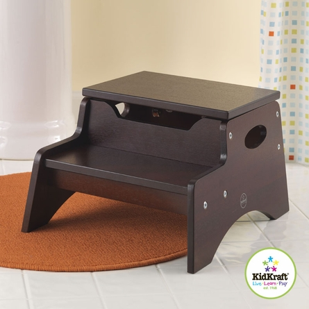 Step Stool with Storage in Espresso