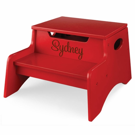 Step Stool With Storage in Red