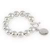 Sterling Silver 12mm Bead Bracelet with Toggle & Charm