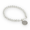 Sterling Silver 6mm Beaded Bracelet with Engraved Charm