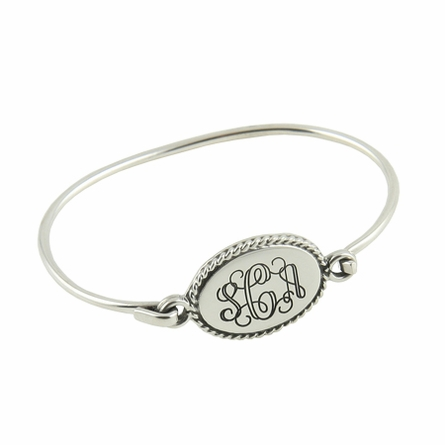 Sterling Silver Braided Oval Engraved Bangle Bracelet