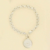 Sterling Silver Double Link Bracelet with Round Monogram Charm