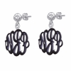 Sterling Silver Enamel Monogram Earrings - Script