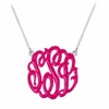 Sterling Silver Enamel Monogram Necklace - Script
