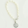 Sterling Silver Freshwater Rice Pearl Bracelet with Round Monogram Charm