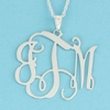 Sterling Silver Large Floating Filigree Monogram Pendant