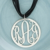 Sterling Silver Large Round Rimmed Cut Out Monogram Pendant