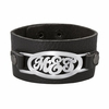 Sterling Silver Leather Cuff Bracelet - Script