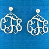 Sterling Silver Medium Filigree Monogram Earrings