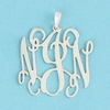 Sterling Silver Medium Floating Filigree Monogram Pendant