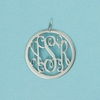 Sterling Silver Medium Round Rimmed Monogram Pendant
