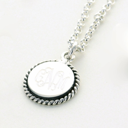 Sterling Silver Monogram Circle Pendant with Braided Trim