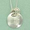 Sterling Silver Monogram Circle Pendant with Rings