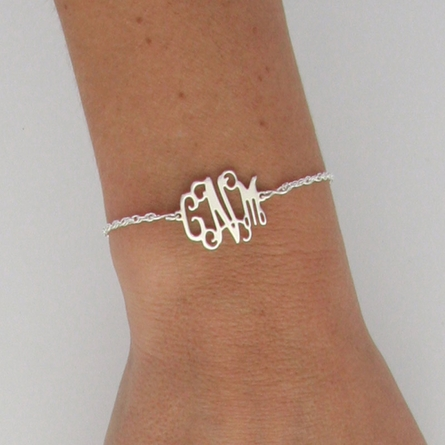 Sterling Silver Petite Floating Monogram Bracelet