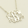 Sterling Silver Small Filigree Monogram Necklace