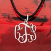 Sterling Silver Small Floating Filigree Monogram Pendant
