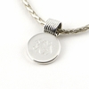 Sterling Silver Small Round Pendant with Coil Barrel