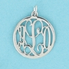 Sterling Silver Small Round Rimmed Cut Out Monogram Pendant