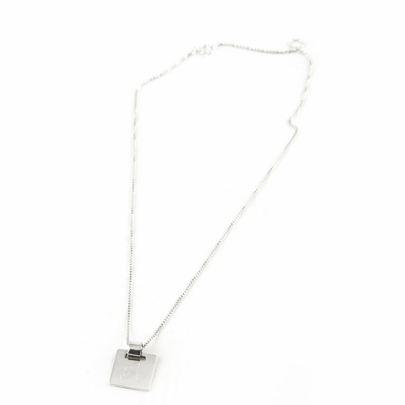Sterling Silver Small Square Pendant with Floating Barrel
