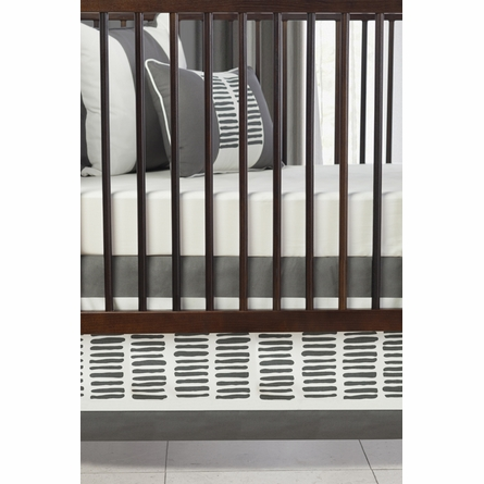 Sticks Patterned Crib Skirt in Pewter