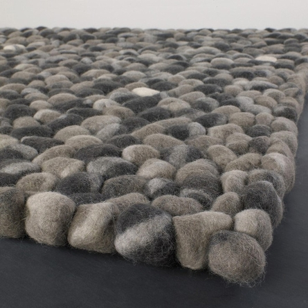 Stones Wool Ball Rug in Dark Gray