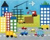 Storybook Construction Truck Site Canvas Reproduction