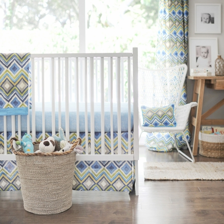 Street of Dreams in Blue Crib Skirt