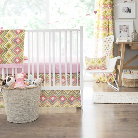Street of Dreams in Pink Crib Bedding Set