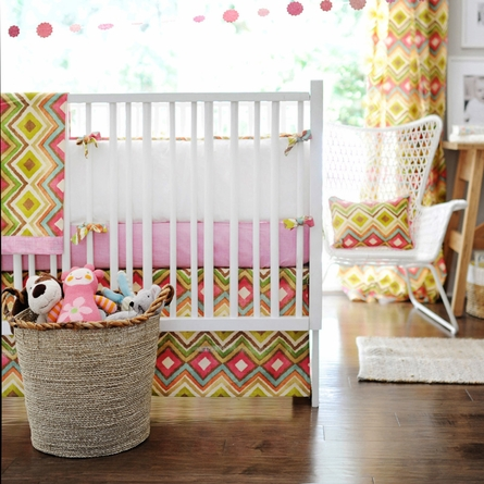 Street of Dreams in Pink Crib Skirt