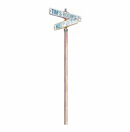 Street Sign Post Personalized Peel and Stick Wall Mural