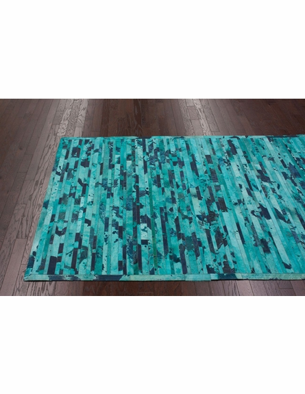 Stripe Cowhide Rug in Turquoise