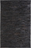 Stripe Leather Rug in Black