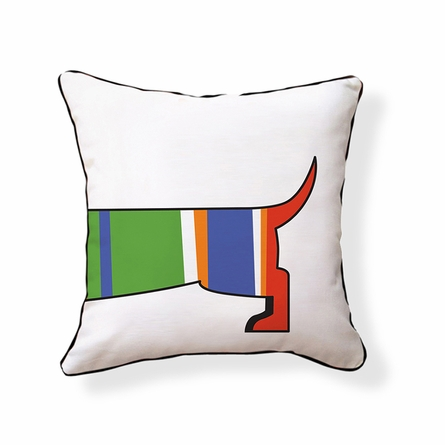 Striped Dachshund Reversible Throw Pillow