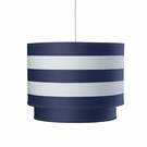 Striped Double Cylinder Pendant Light in Cobalt