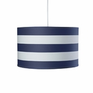 Striped Large Cylinder Pendant Light in Cobalt Blue