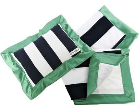On Sale Stroller Blanket and Pillow Set in Navy and Green