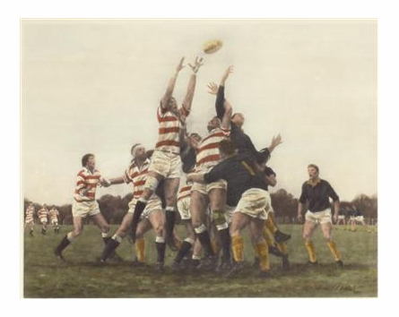 Struggle for Possession Old English Rugby Print