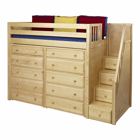 Stuart High Loft Bed with Storage and Staircase