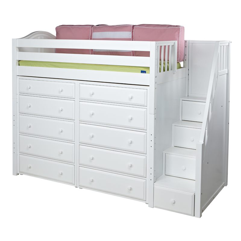 Star High Loft Bed With Storage And Staircase